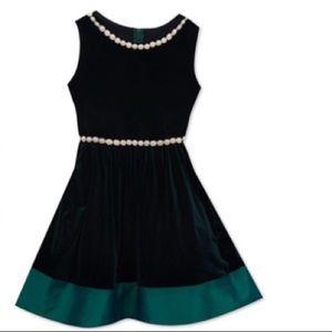 Rare Editions Girl Velvet Bow Dress-Party Dress